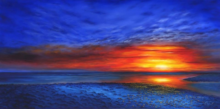 Sunset in Blue 4'x2' Oil on Canvas